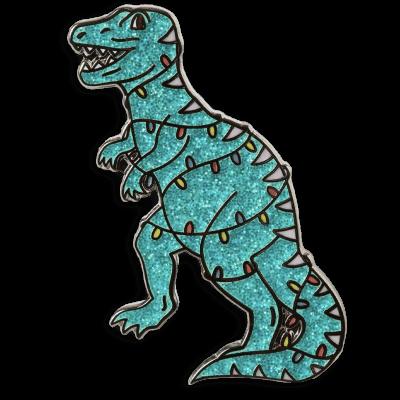 Christmas Dinosaur Pin Badge