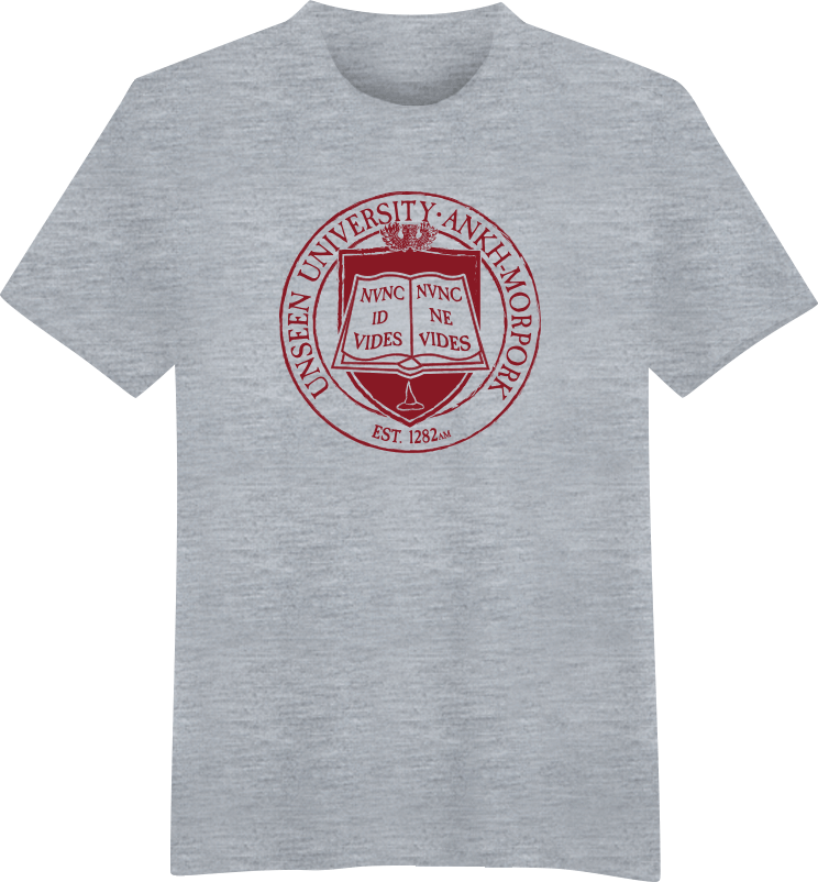 Unseen university crest for University t shirts with your name