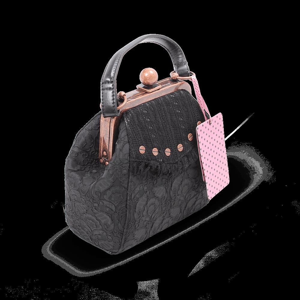 Small Victorian Steampunk Vintage Black Lace Handbag