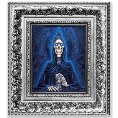 Death and Kitten Framed Dome Stickers
